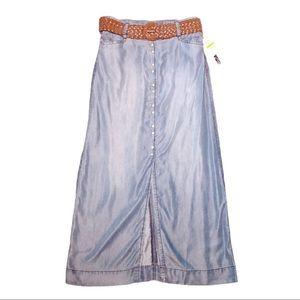 INC Regular Fit Long Jean Skirt with Belt Size S